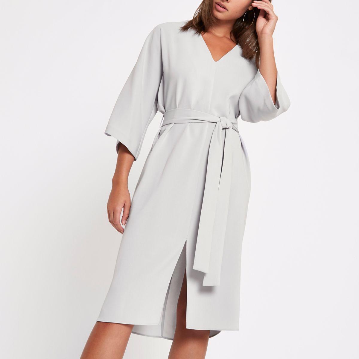 Light grey tie waist wrap midi dress