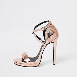 Roségoudkleurige minimalistische sandalen met plateauzool