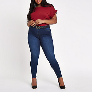 Plus dark red frill sleeve T-shirt