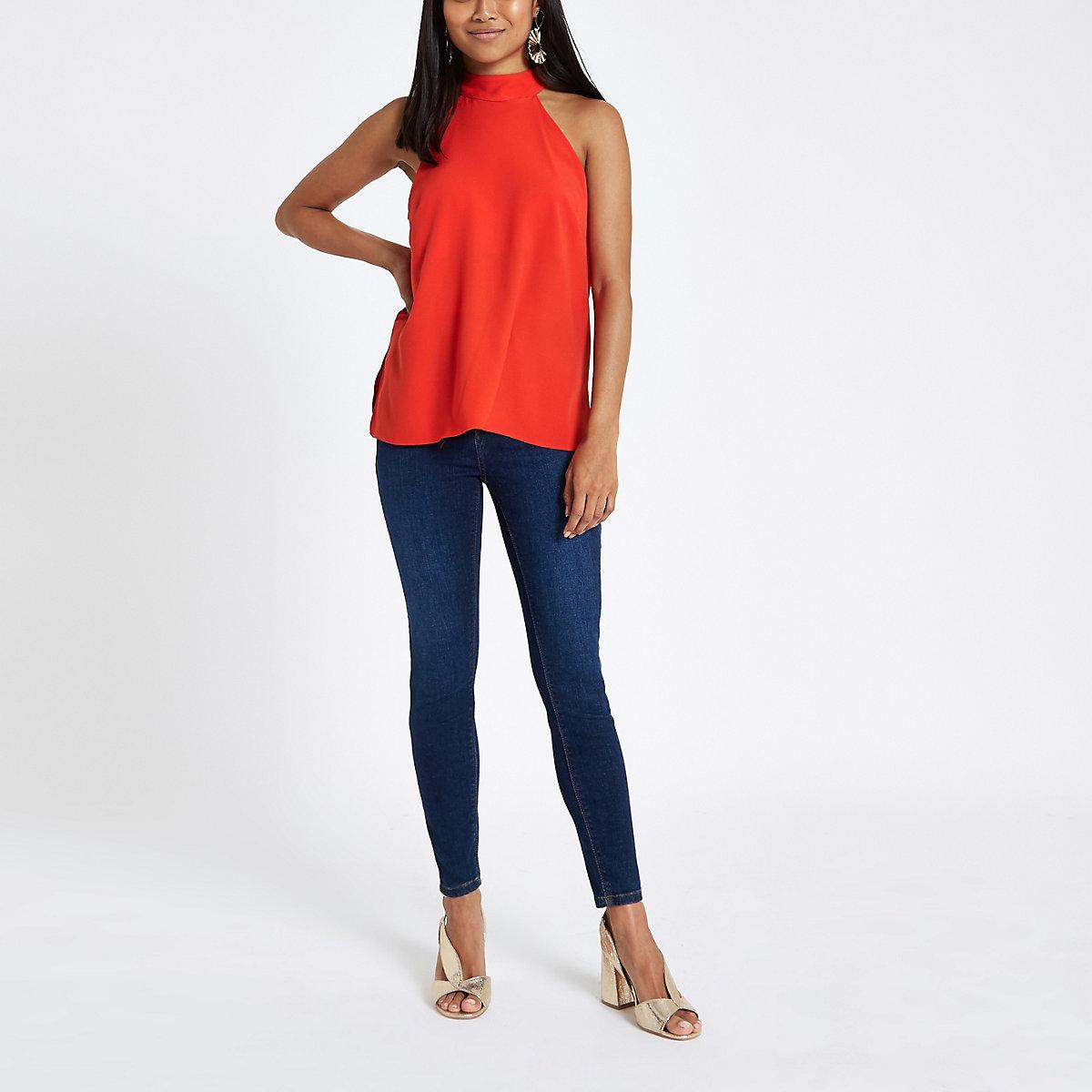 Petite red halter neck sleeveless top