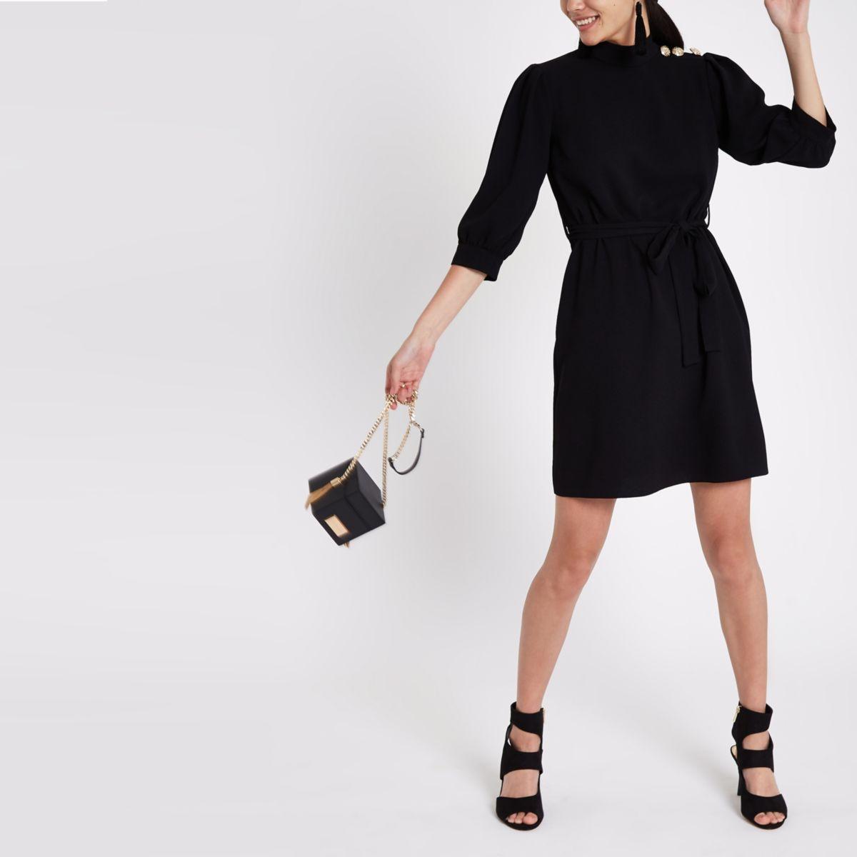 Black button shoulder tie waist swing dress