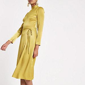 Gele midi-jurk met lange mouwen en strikceintuur