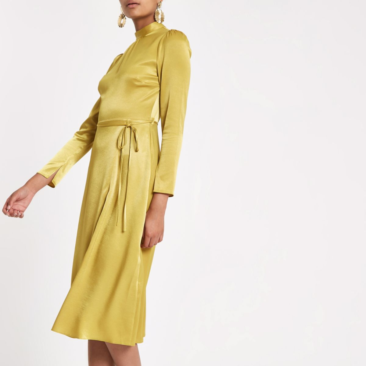 Yellow tie waist long sleeve midi dress