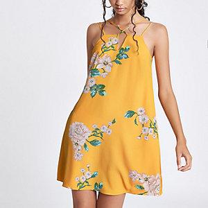 Gele cami slipdress met bloemenprint