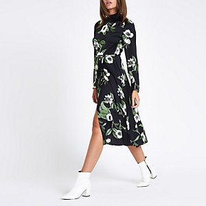 Black floral high neck tie side dress