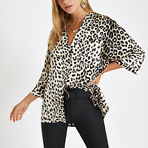 Cream leopard print button up blouse