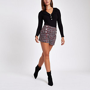 Red check rhinestone pearl embellished shorts