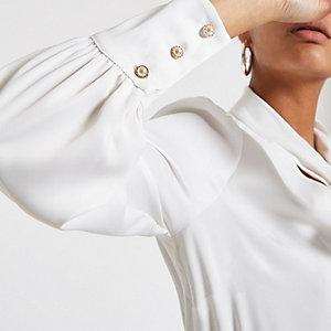 Weiße Loose Fit Bluse