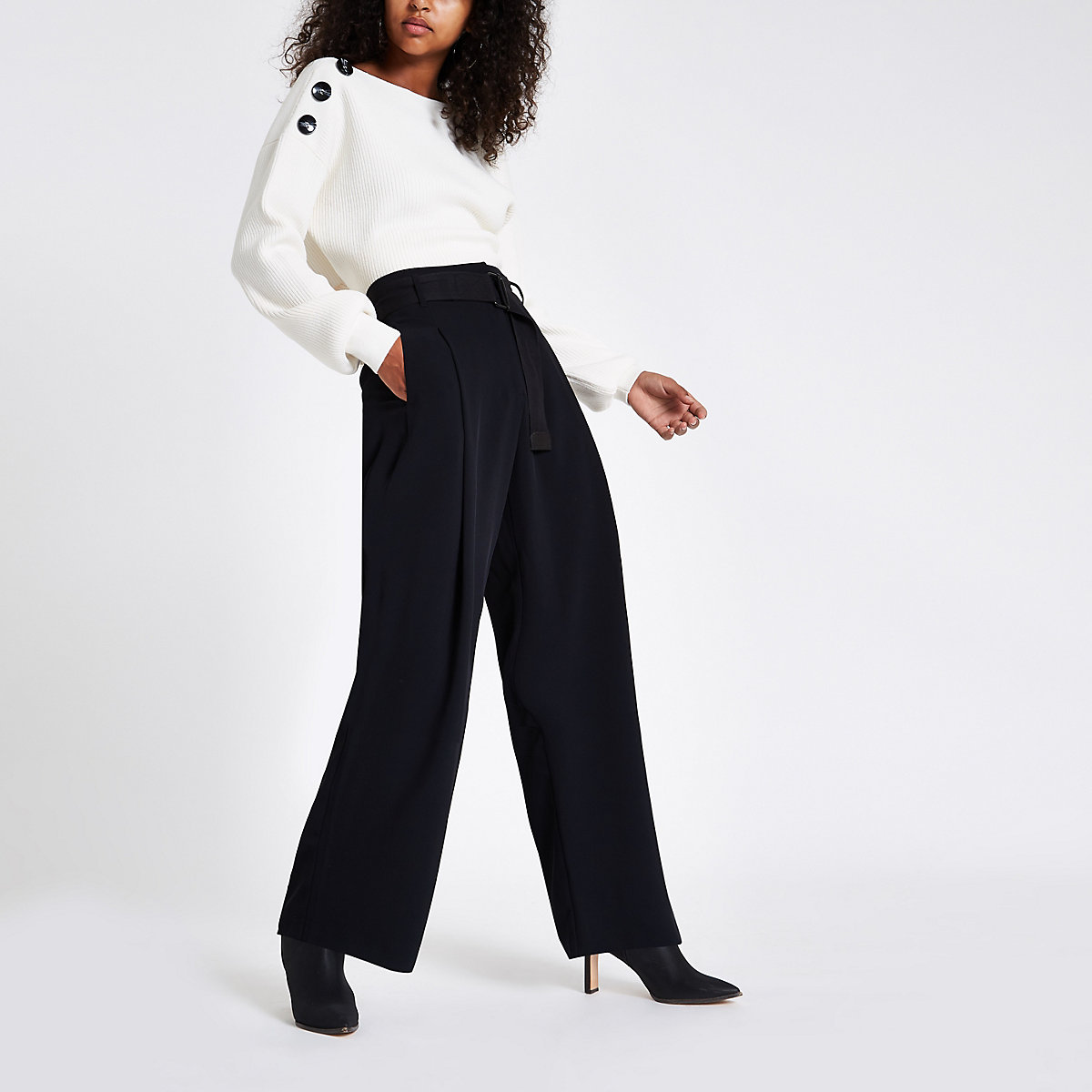 Black wide leg belted trousers