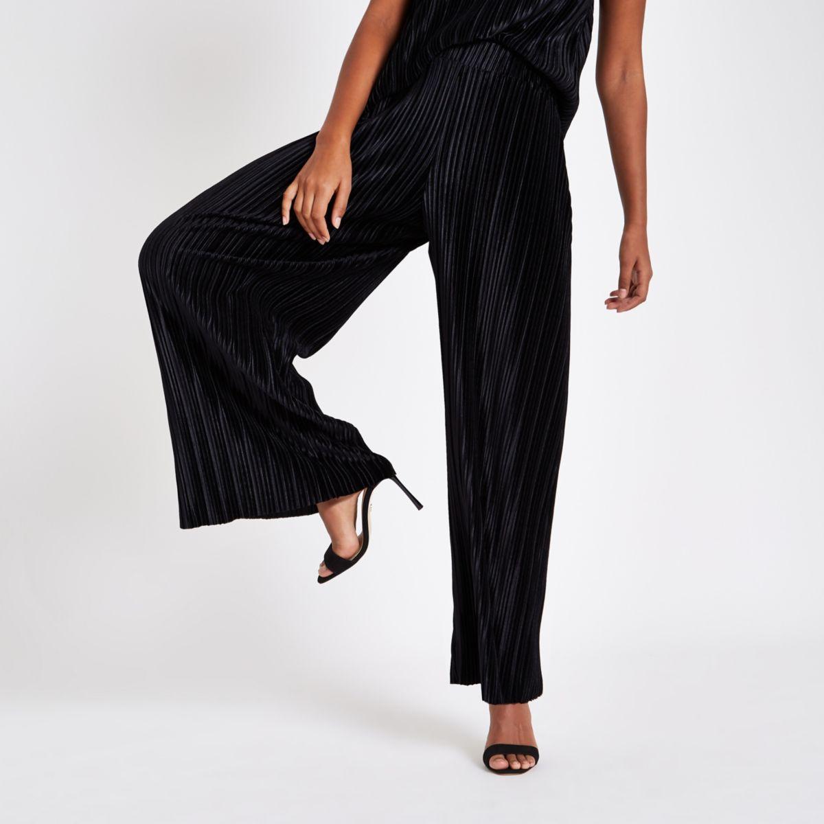 Black velvet pleated jersey wide leg pants
