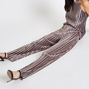 Grey plisse wide leg trousers