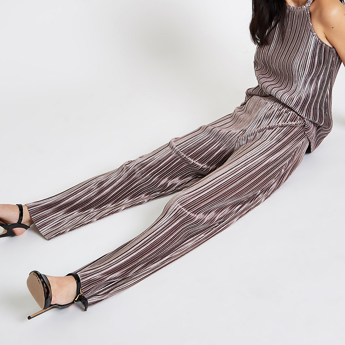 Grey plisse wide leg pants