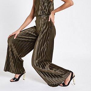 Khaki green velvet plisse wide leg trousers