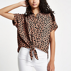 Brown leopard printed tie front shirt