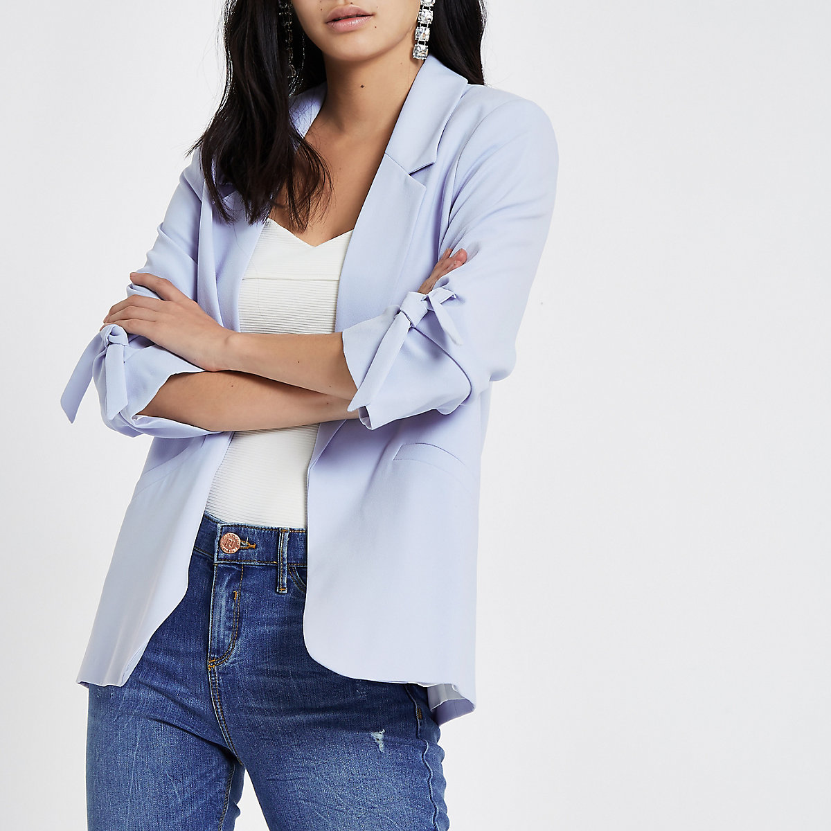 Light blue bow cuff blazer