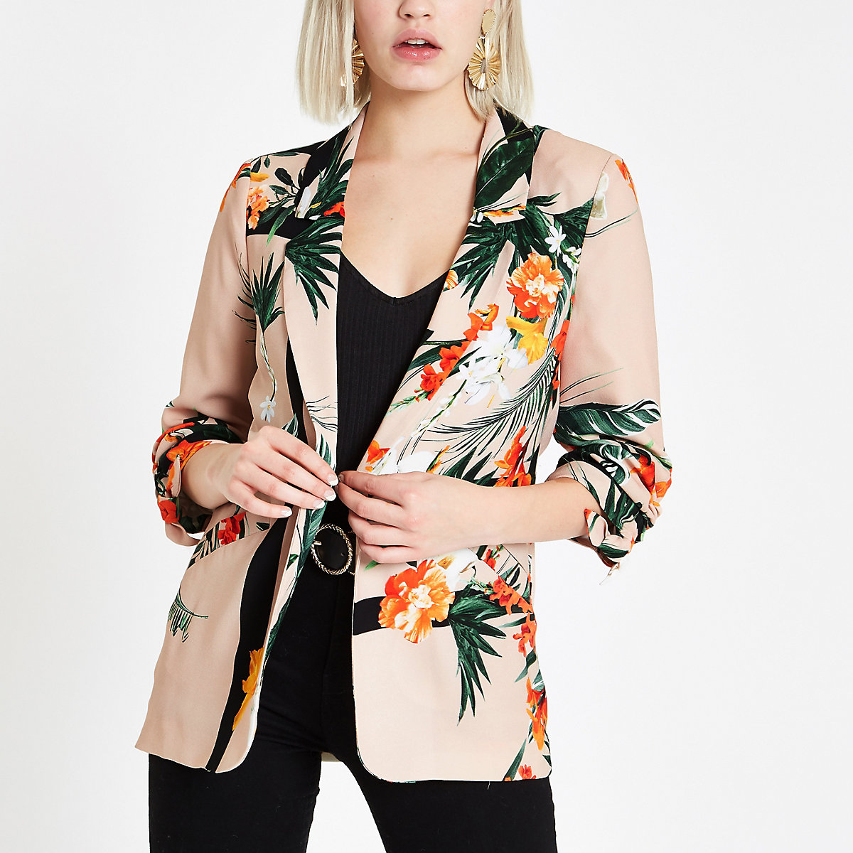 Light pink tropical ruched sleeve blazer