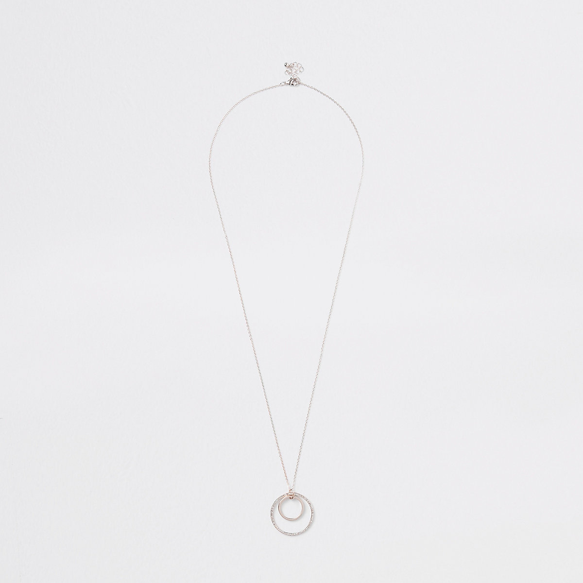Rose gold tone circle interlink necklace