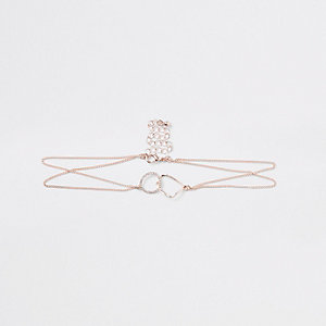 Rose gold tone chain interlink circle choker