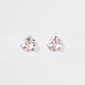 Rose gold jewel cluster stud earrings