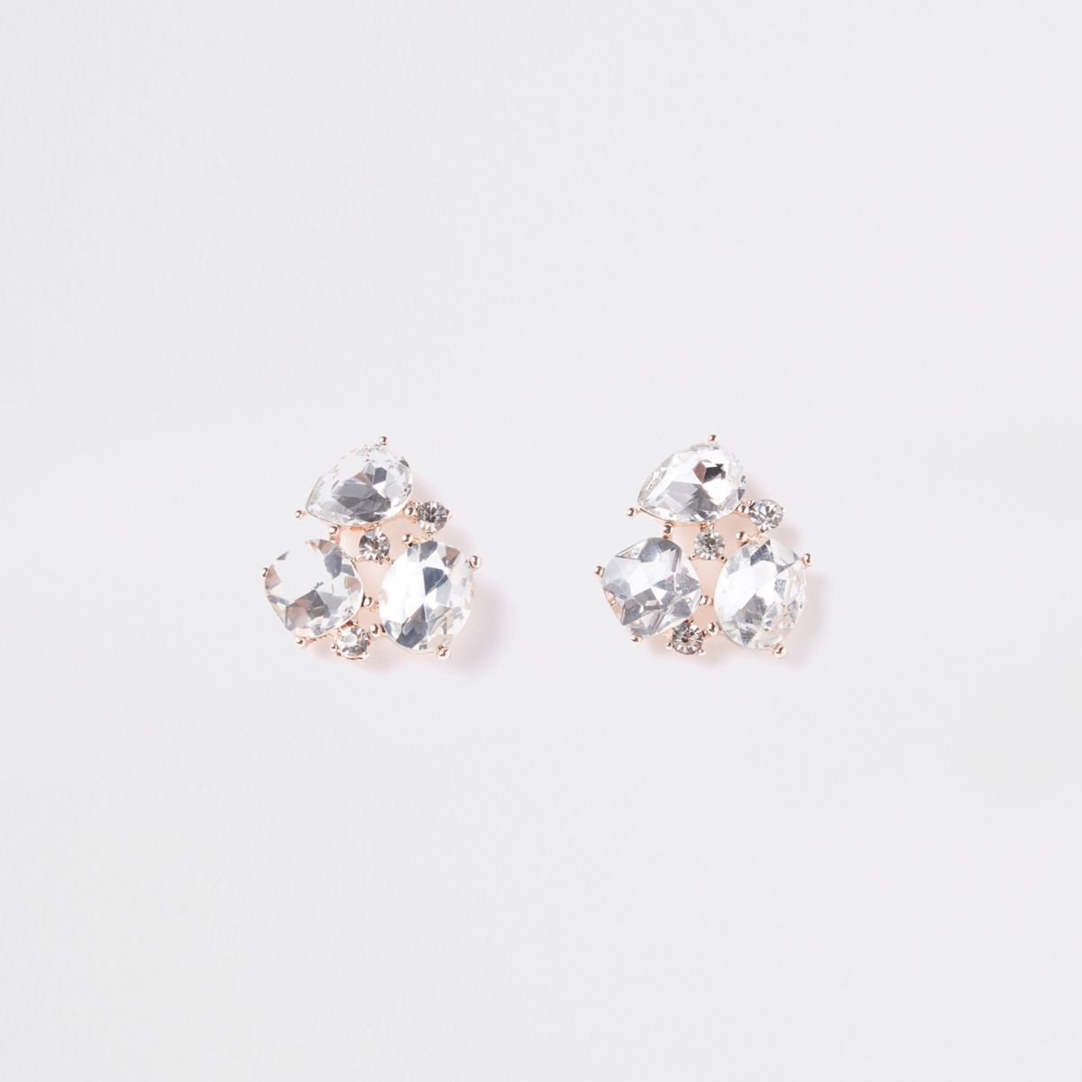 Rose gold jewel cluster stud earrings