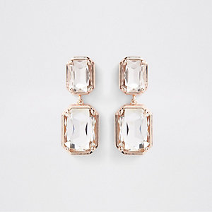 Rose gold tone crystal jewel clip on earrings