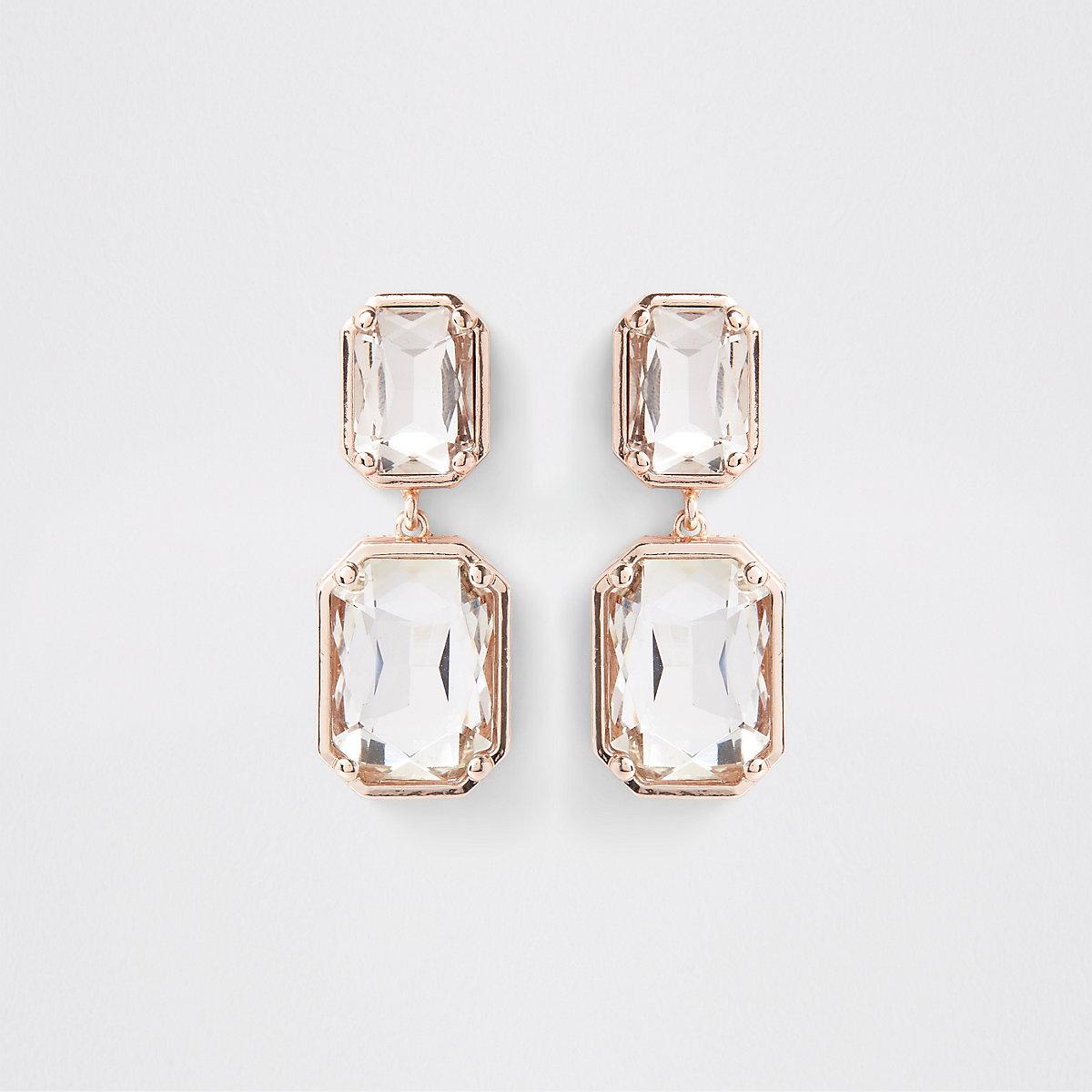 Rose gold tone crystal jewel stud earrings
