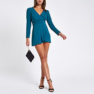 Teal wrap front tie back playsuit