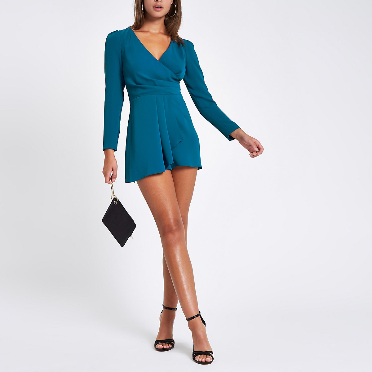 f6b37067d85 Teal wrap front tie back romper - Rompers - Rompers   Jumpsuits - women