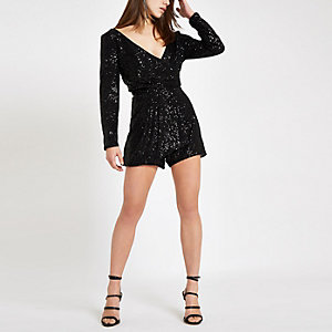 Petite black sequin wrap front playsuit
