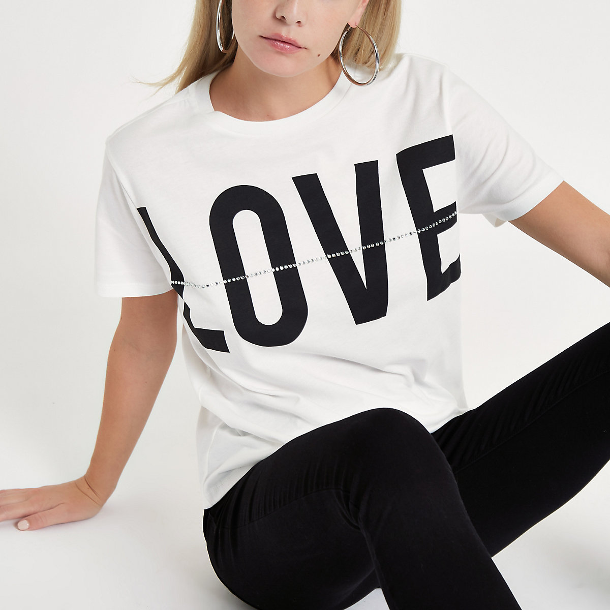 Petite white 'Love' print diamante T-shirt