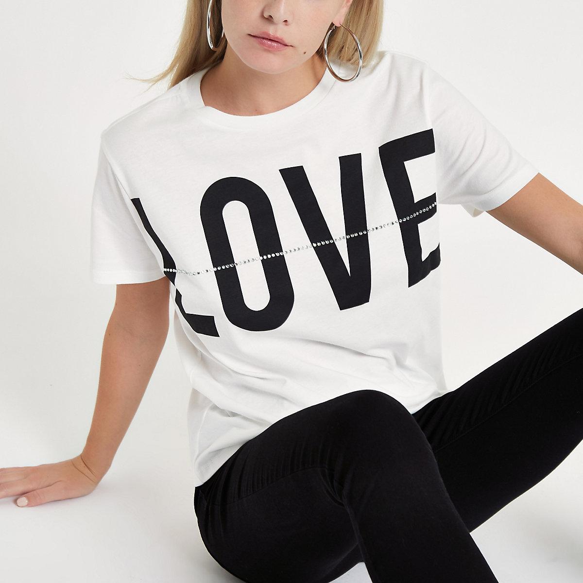 Petite white 'Love' print rhinestone T-shirt