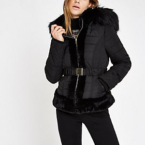 Black padded faux fur hood belted coat