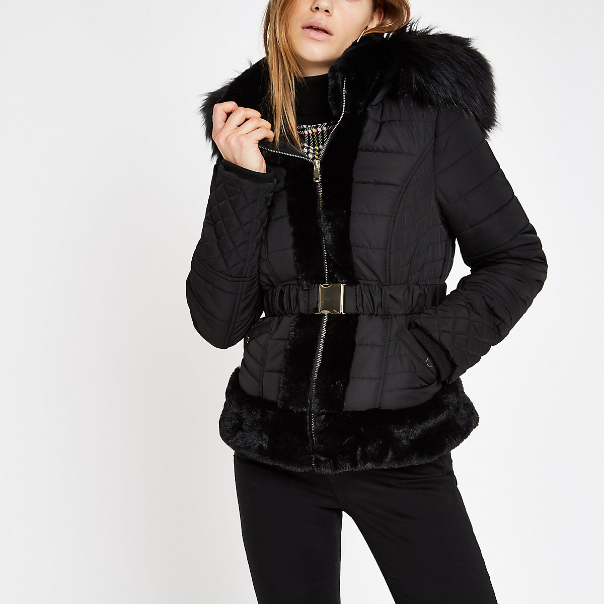 Black padded faux fur hood belted coat