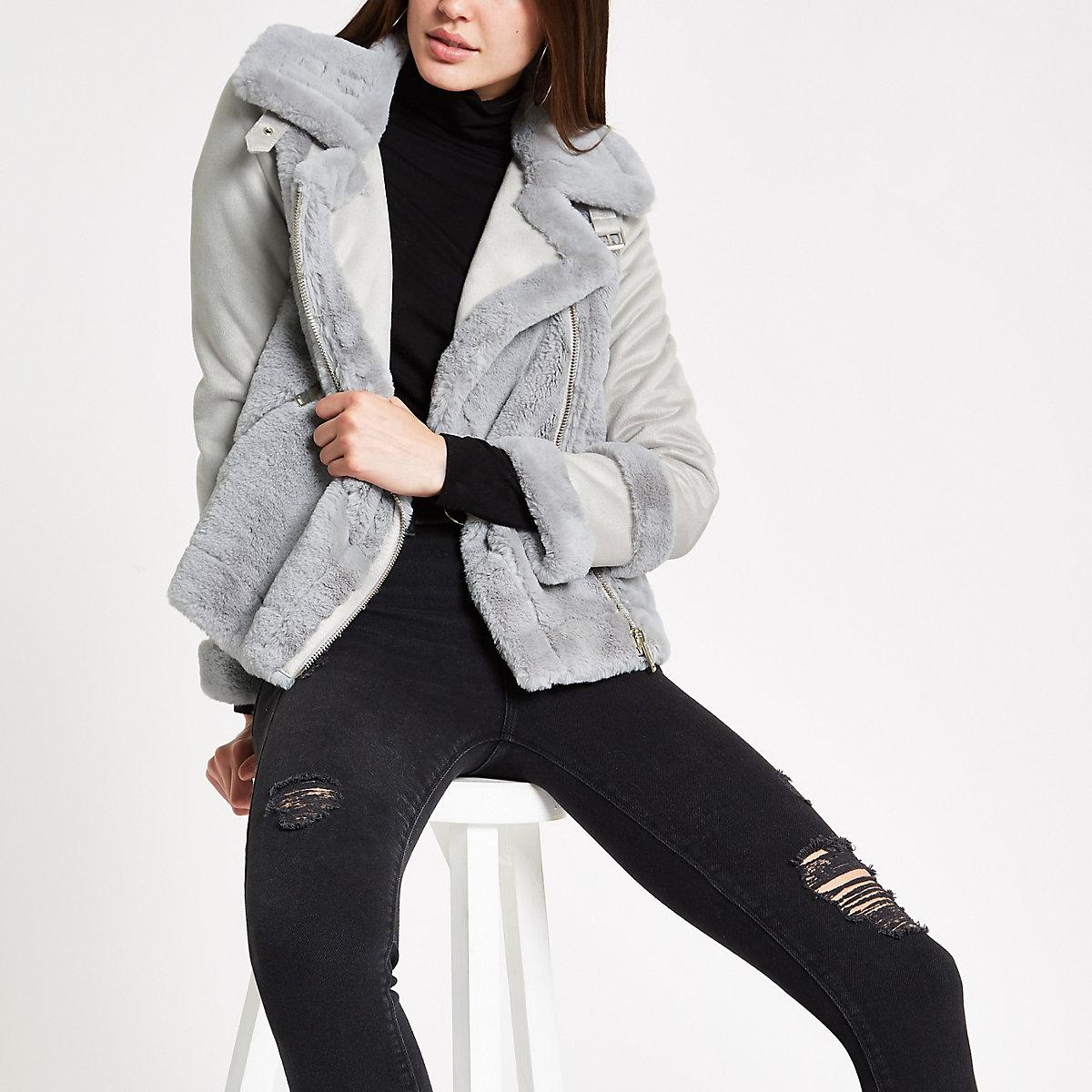 Light grey faux fur trim jacket