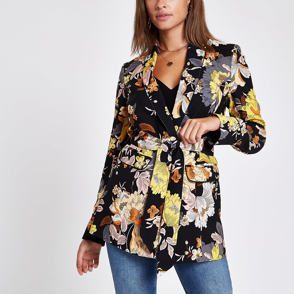 Black floral print belted blazer jacket