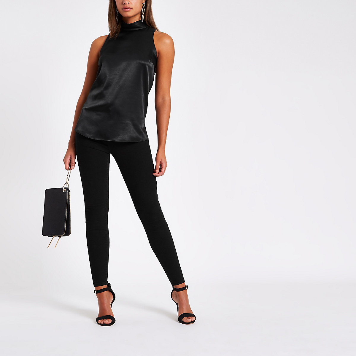 Black chiffon roll neck sleeveless top