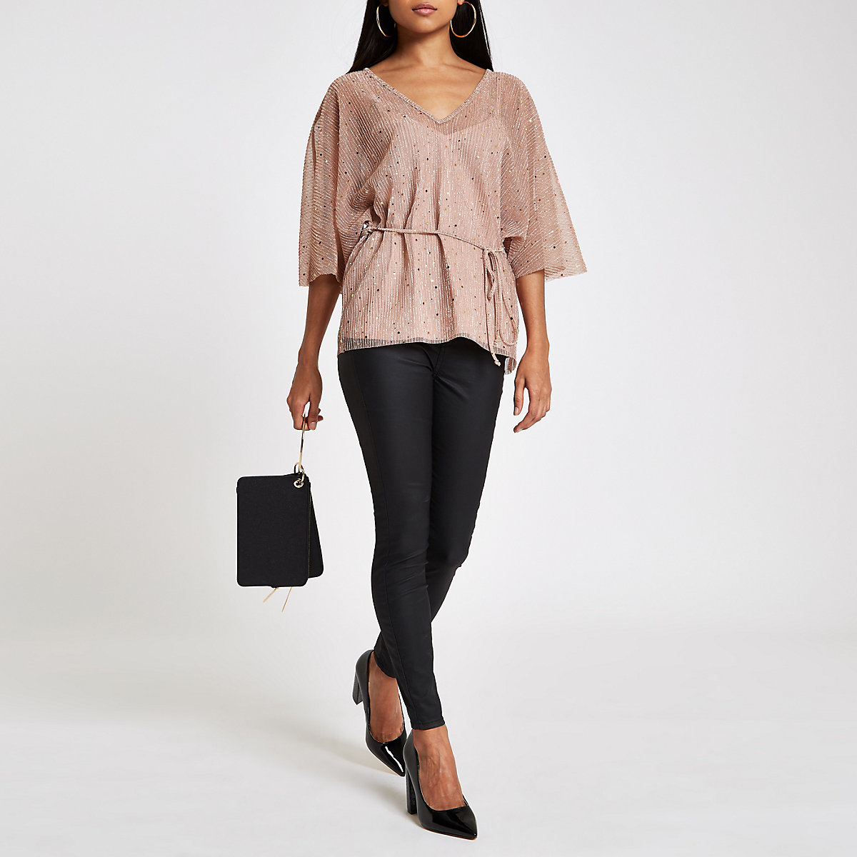 Petite light pink plisse sequin tie waist top