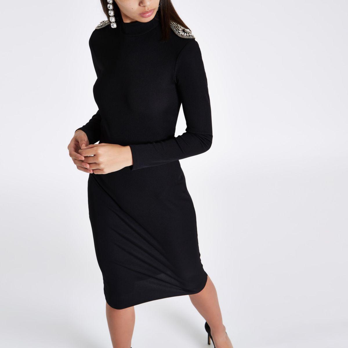Black rhinestone shoulder bodycon midi dress