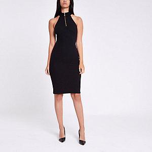 Schwarzes Neckholder-Bodycon-Kleid