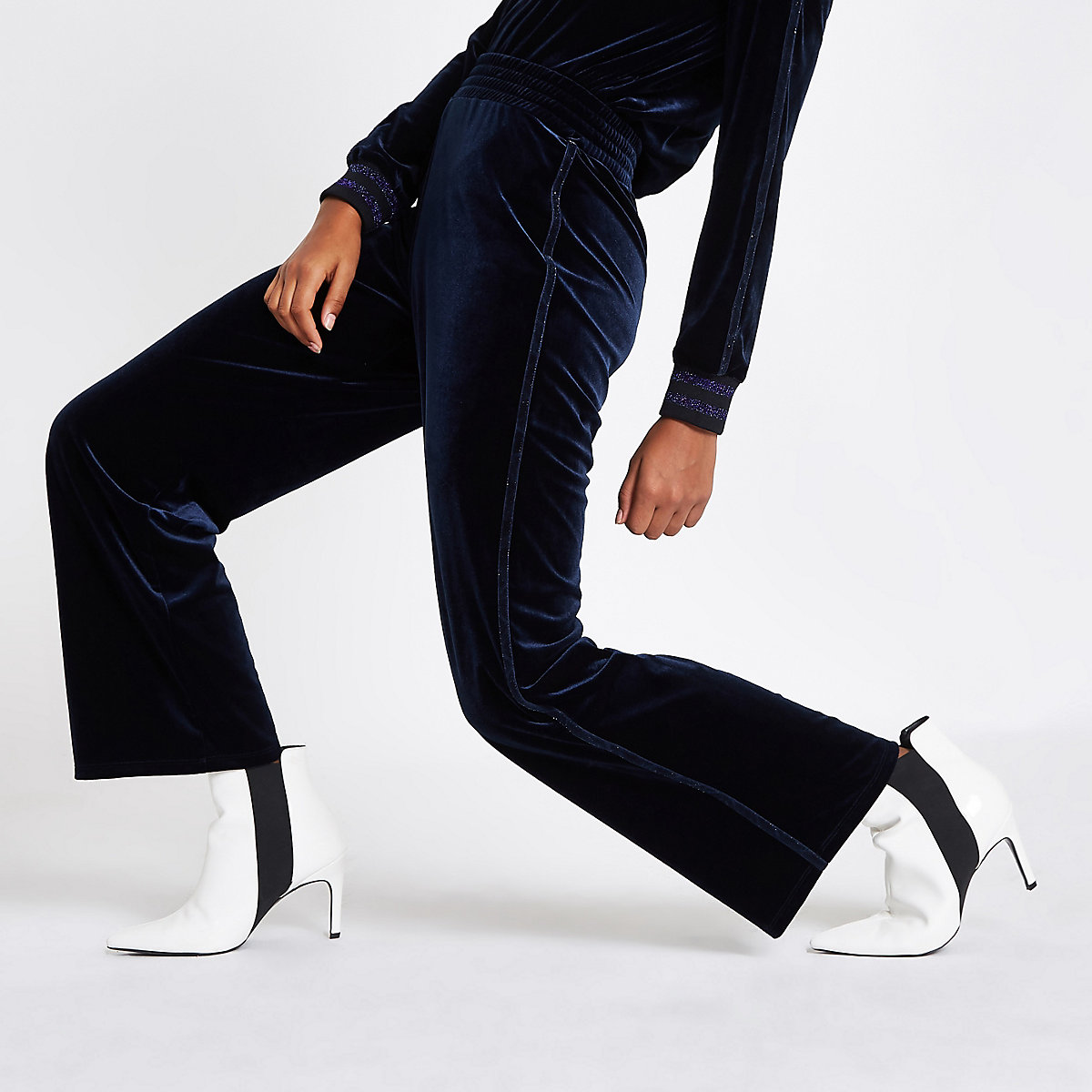 Navy velvet wide leg metallic trim pants