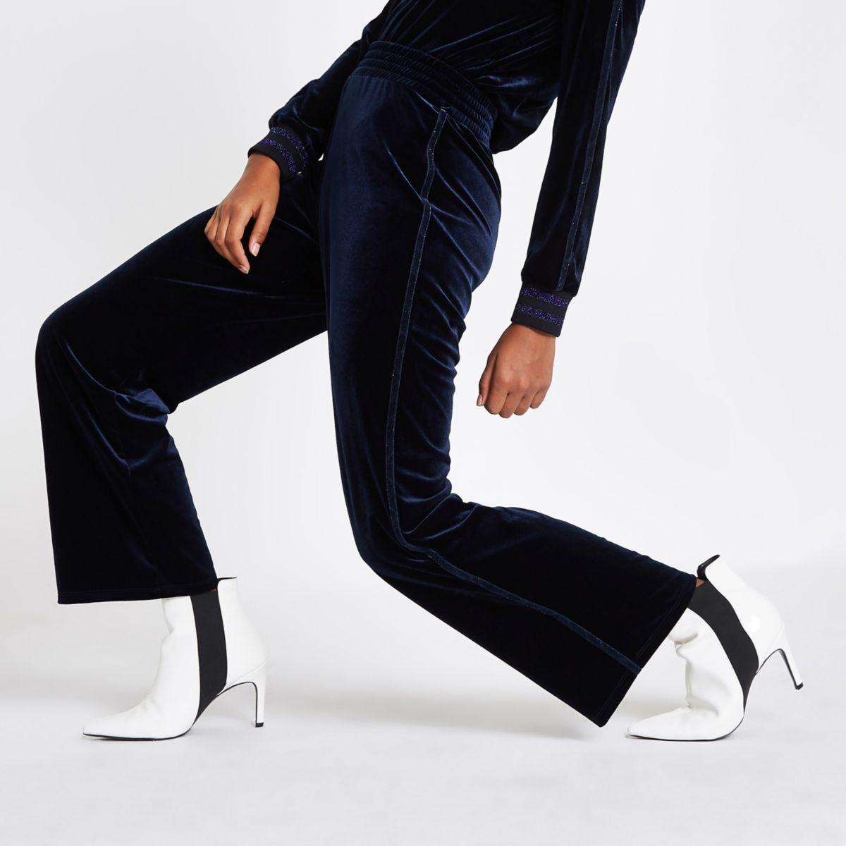 Navy velvet wide leg metallic trim trousers
