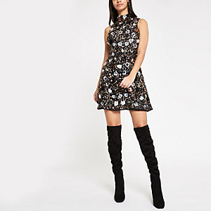 Black sequin embellished high neck mini dress