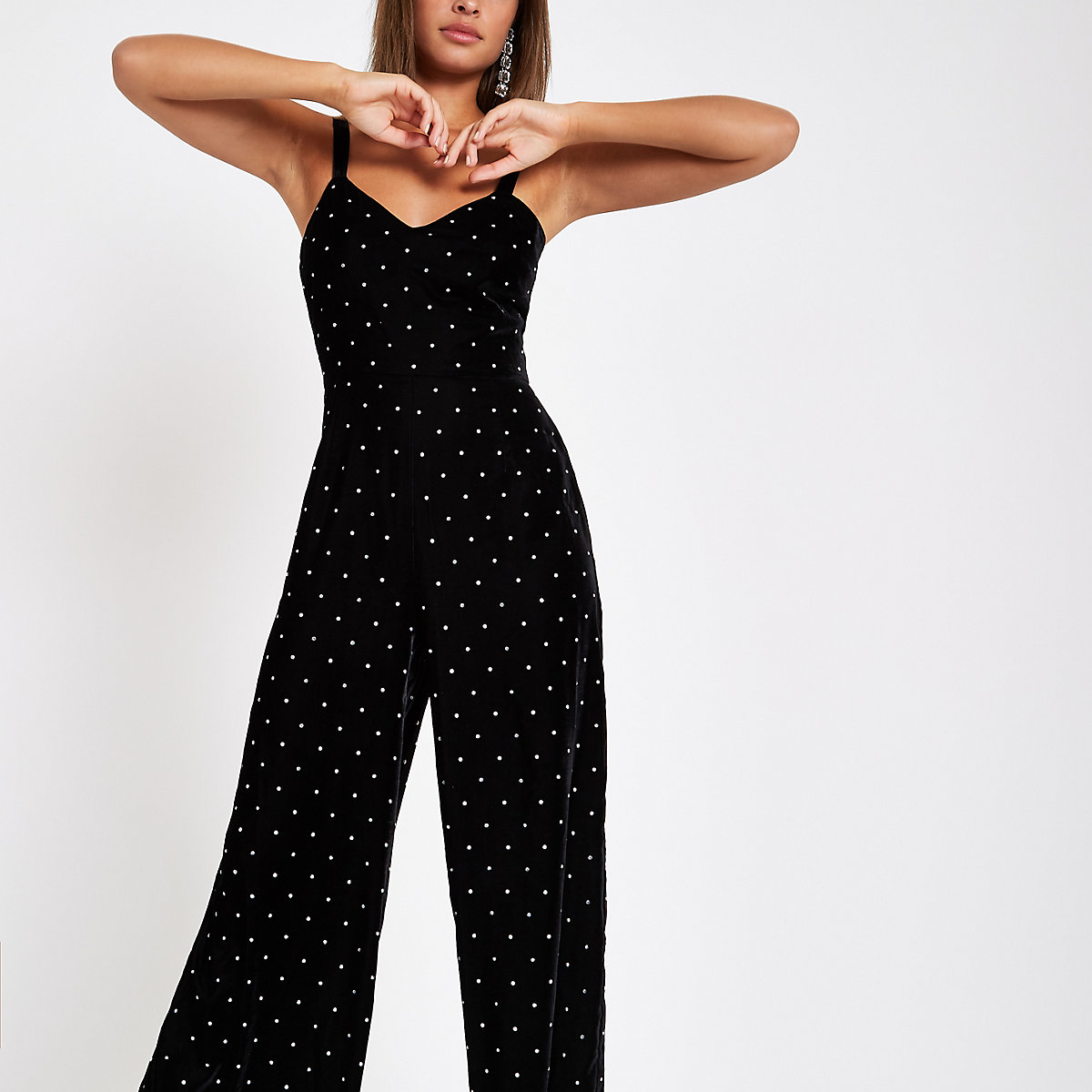Black velvet studded wide leg jumpsuit
