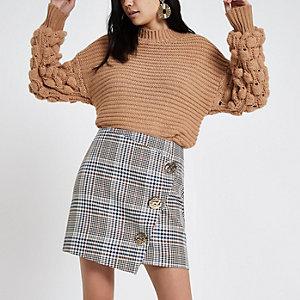 Brown check button wrap mini skirt