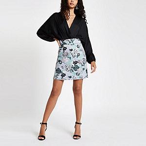 Purple floral jacquard mini skirt