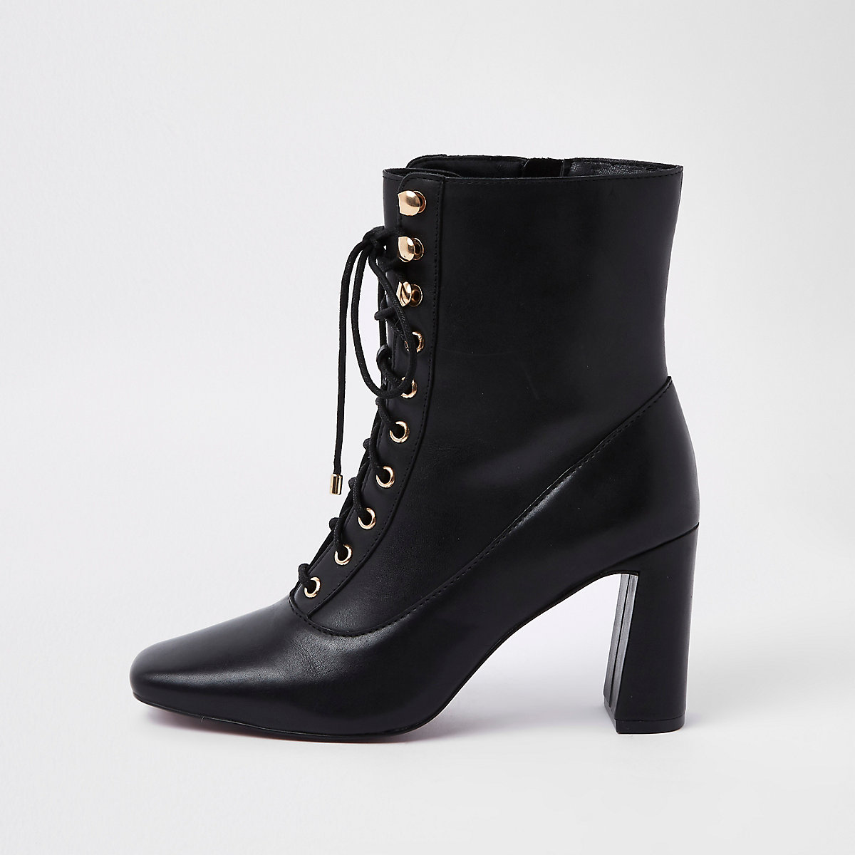 Black leather lace-up square toe boots