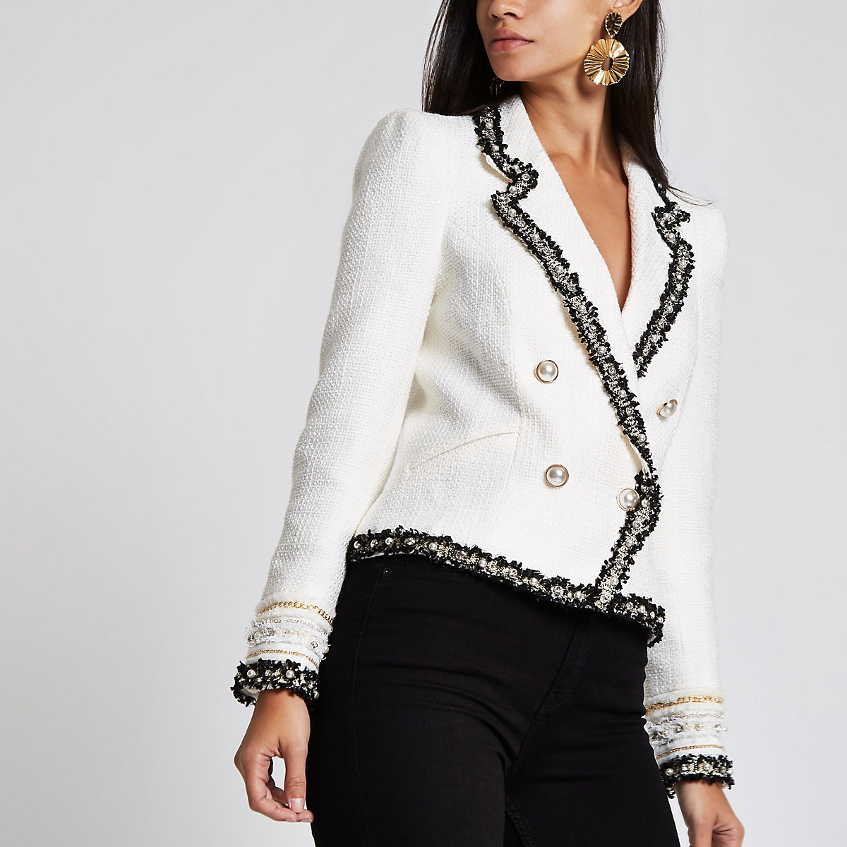Cream boucle double breasted contrast jacket