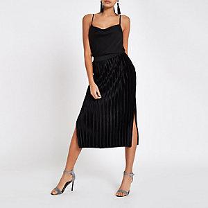 Black velvet plisse midi skirt