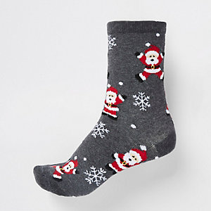 Grey Santa print ankle socks