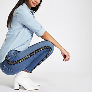 Mid blue Molly embellished tape jeggings